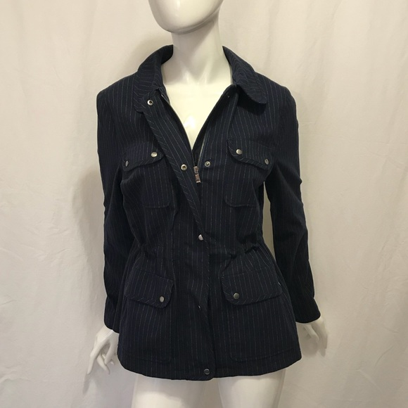 Nordstrom Signature Jackets & Blazers - Navy Nordstrom Signature Pinstripe Utility Jacket
